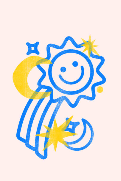 Art Print Template Featuring a Happy Sun Graphic 3458b