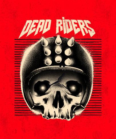 T-Shirt Design Template for Biker Clubs Featuring a Skull with a Helmet 3453b