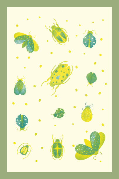 Art Print Template Featuring Illustrated Bugs 3460a
