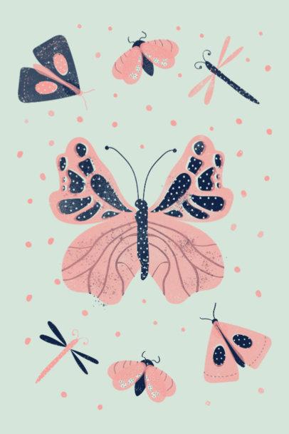 Art Print Design Maker Featuring a Butterfly Clipart 3460c