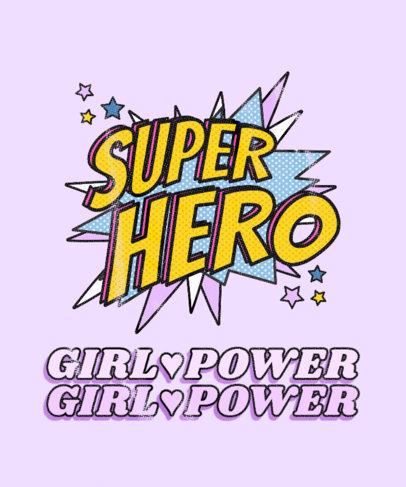 Girly T-Shirt Design Template Inspired by Superhero Comics 3462b