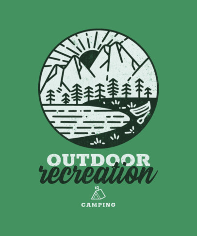 T-Shirt Design Template with an Outdoors Theme and a Mountain Graphic 3622g-el1