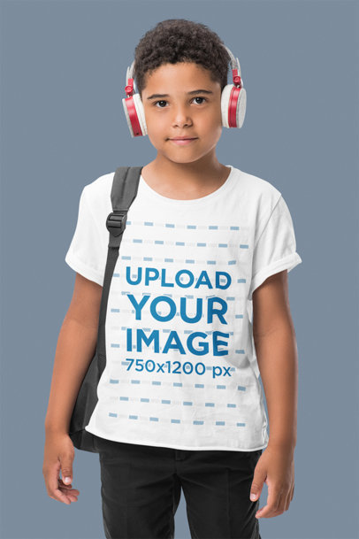 T-Shirt Mockup Featuring a Boy with Headphones in a Studio m2530-r-el2