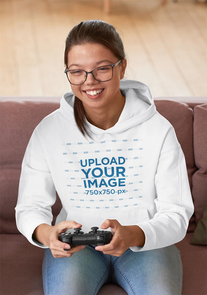 Hoodie Mockup of a Young Woman Enjoying Video Games m2621-r-el2