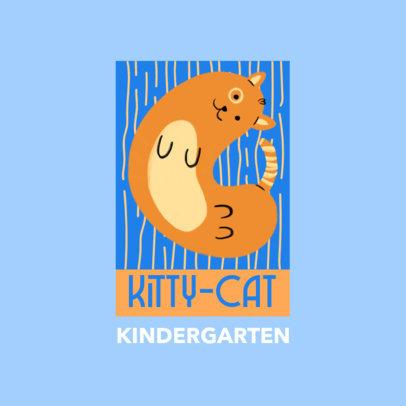 Kindergarten Logo Maker Featuring a Cat Clipart 4123j