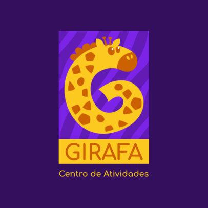 Logo Maker for a Kids' Activity Center Featuring a Giraffe Clipart 4123a