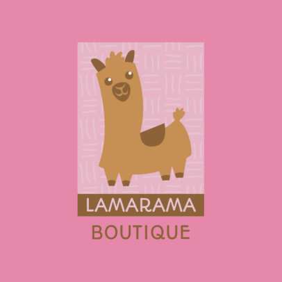 Logo Template for a Children's Clothing Boutique Featuring a Cute Llama Clipart 4123d