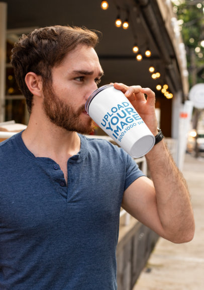 Drinkware Mockup of a Bearded Man Drinking from a Tumbler 24401a