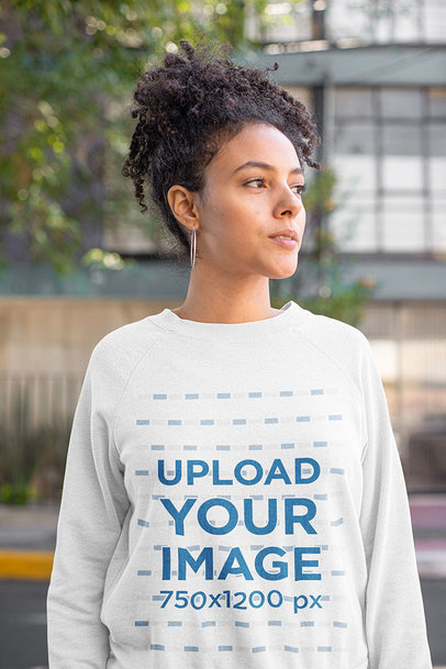 Heathered Sweatshirt Mockup of a Curly-Haired Woman Posing On the Street 23972a
