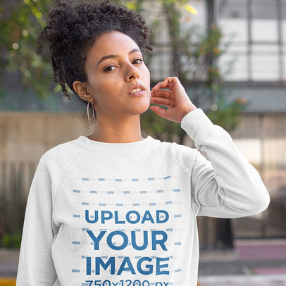 Mockup of a Curly-Haired Woman Wearing a Heathered Sweatshirt 23971a