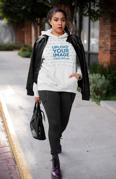 Hoodie Mockup Featuring a Woman Wearing an Athleisure Outfit 32439a