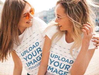 T-Shirt Mockup of Two Female Friends Having Fun m1369-r-el2