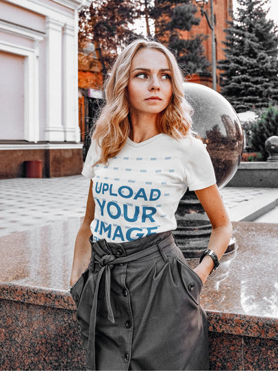 Mockup of a Fashionable Blonde Woman Posing with a T-Shirt m1602-r-el2
