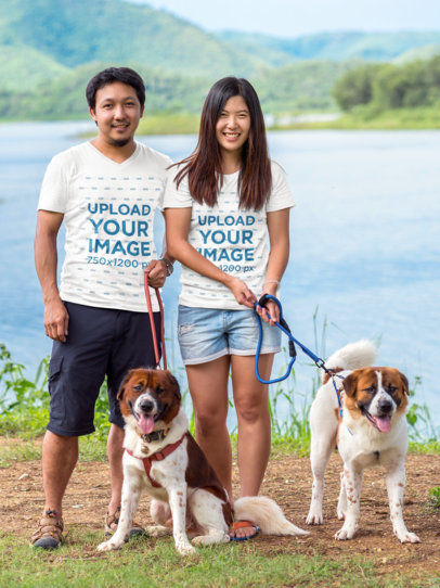 T-Shirt Mockup Featuring a Couple Taking Their Dogs for an Outdoor Walk M2755-r-el2