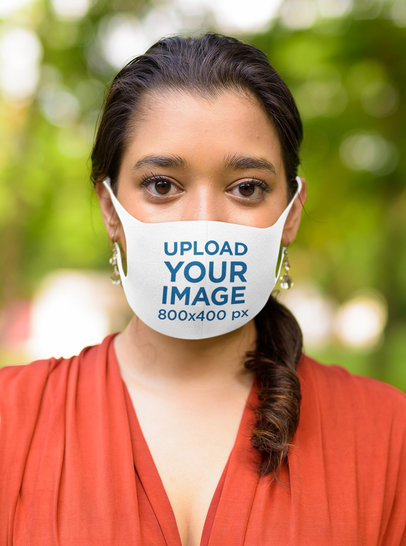 Face Mask Mockup Featuring a Serious Woman Standing Outside m2640-r-el2