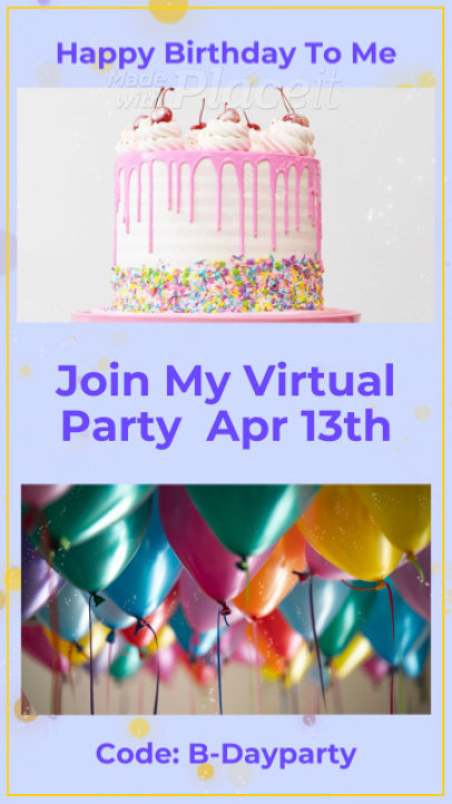 Instagram Story Video Maker for an Online Birthday Party Invitation 2583a 2945