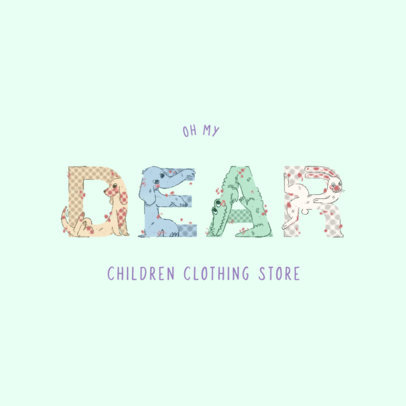 Kids Clothing Store Logo Generator with Colorful Animal Letters 4117e
