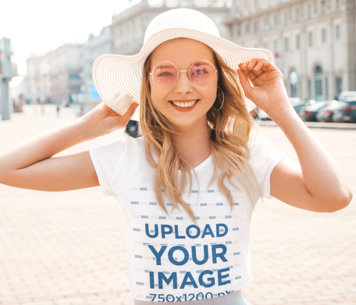T-Shirt Mockup of a Young Woman Wearing Summer Accessories m1588-r-el2