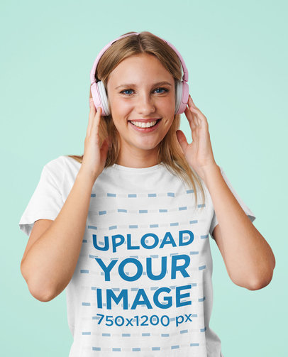 T-Shirt Mockup of a Happy Young Woman Listening to Music  M2413-r-el2
