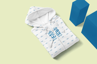 Mockup of a Folded Sublimated Hoodie by Some Blocks 5113-el1