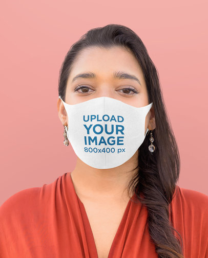 Face Mask Mockup Featuring a Long-Haired Woman and a Plain Background m2637-r-el2