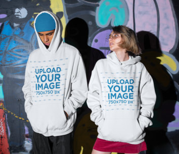 Hoodie Mockup of a Man and a Woman Posing in an Urban Setting M554