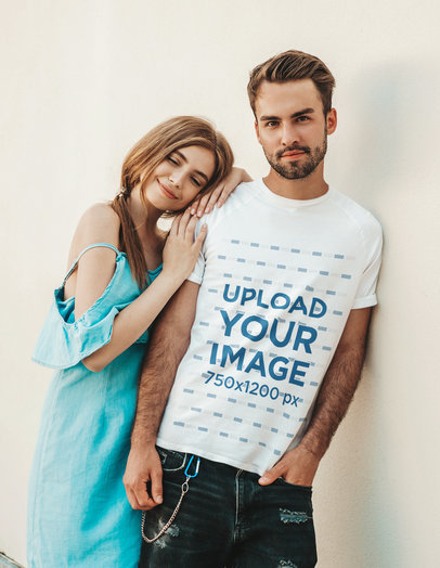 T-Shirt Mockup of a Bearded Young Man Posing with His Girlfriend M1550-r-el2