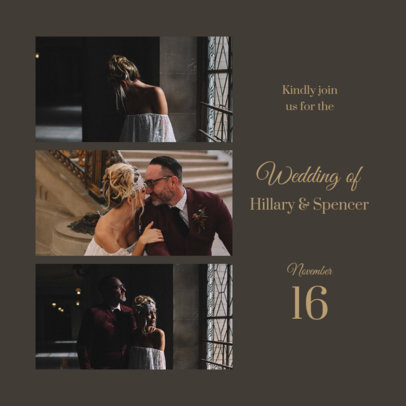 Instagram Post Template for Engaged Couples Featuring a Wedding Invitation 3646b-el1
