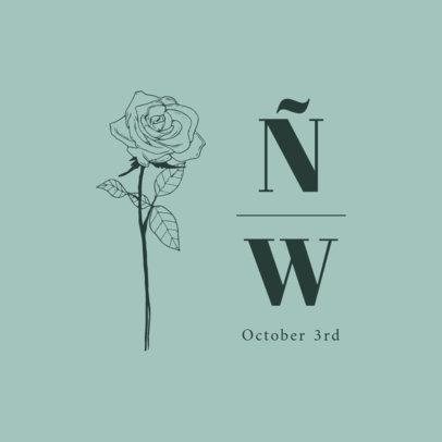 Simple Logo Generator for Weddings Featuring a Rose Illustration 3656e-el1