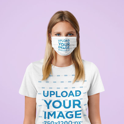Face Mask and Tee Mockup Featuring a Woman Standing at a Studio M2373-r-el2