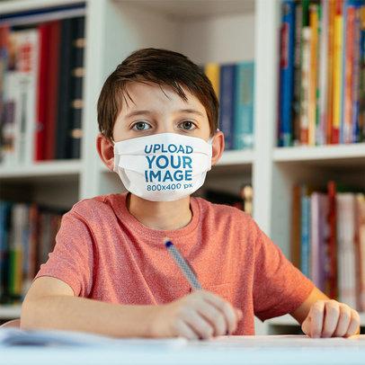 Face Mask Mockup of a Boy Doing His Homework m2012-r-el2