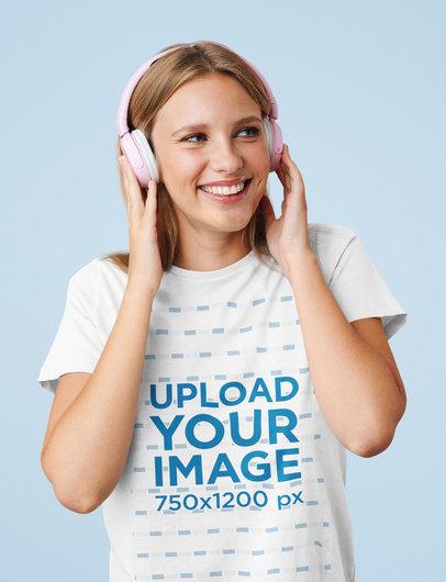 T-Shirt Mockup of a Happy Young Woman Using Pink Headphones M2378-r-el2