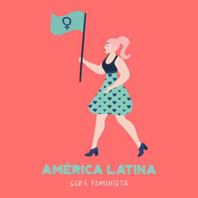 Instagram Post Creator for a Feminist March Featuring a Woman with a Flag 3485g