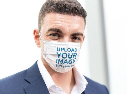 Face Mask Mockup Featuring a Confident Businessman m2167-r-el2