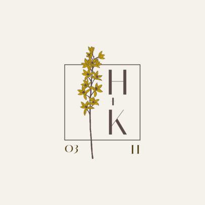 Logo Template for a Wedding Monogram with a Delicate Blossom 3654a-el1