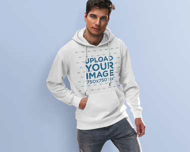 Studio Mockup Featuring a Young Man Wearing a Hoodie 5117-el1