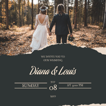 Instagram Post Maker for a Wedding Invitation Featuring a Picture of a Couple 3644a-el1
