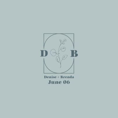 Wedding Logo Template Featuring Delicate Flower Illustrations 3652b-el1