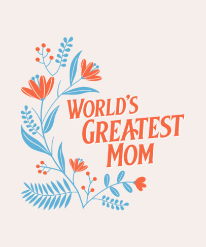 Mother's Day-Themed T-Shirt Design Template with Flower Graphics 3477e