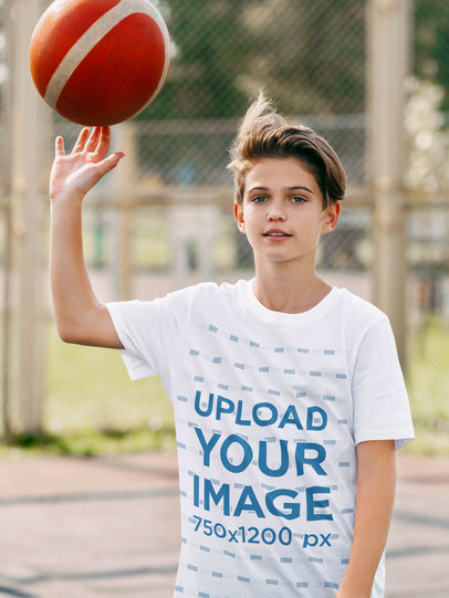 T-Shirt Mockup Featuring a Kid with a Basketball m2242-r-el2