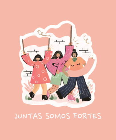 Feminist T-Shirt Design Generator for Women's Day Featuring Three Female Friends Marching 3483g