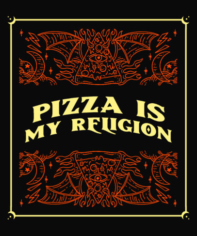 Pizza-Themed T-Shirt Design Maker with a Goth Vibe 3474d