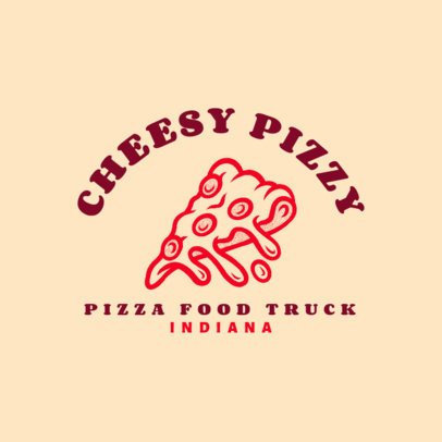 Food Truck Logo Template with a Cheesy Pizza Graphic 1213k-4138