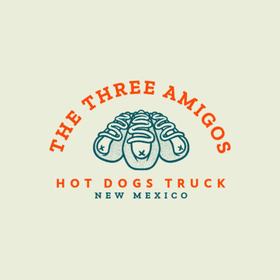 Hot-Dog-Themed Logo Template for a Food Truck 1213n-4138