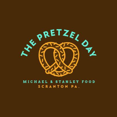 Logo Maker for a Pretzel Food Truck with a Line-Art Graphic 1213q-4138