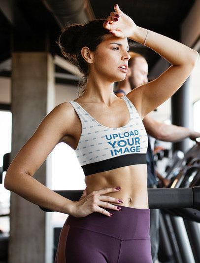 Sports Bra Mockup  of a Woman Doing Cardio m2742-r-el2