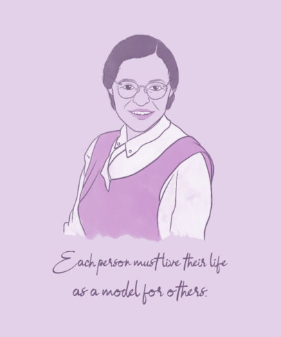 Women's Day T-Shirt Design Template Featuring an Illustration of Rosa Parks 3484i
