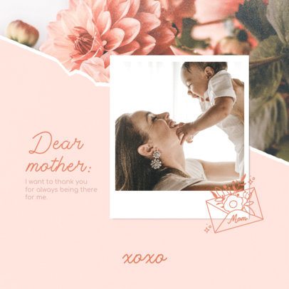 Instagram Post Design Creator Featuring a Mother's Day Quote and a Picture 3980c