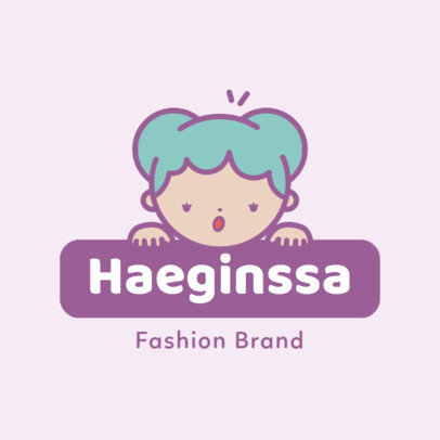 Kawaii Logo Template for a Kids' Fashion Brand 4147e