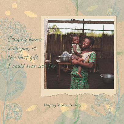 Instagram Post Maker Featuring a Mothers Day Photograph with a Paper Frame 3479e